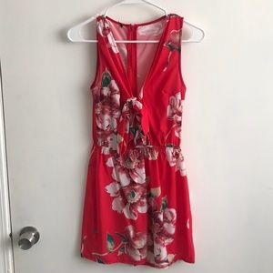 Asos red floral print romper with bow
